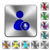 User broadcasting engraved icons on rounded square glossy steel buttons