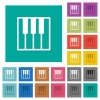 Piano keyboard square flat multi colored icons - Piano keyboard multi colored flat icons on plain square backgrounds. Included white and darker icon variations for hover or active effects.