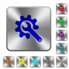 Wrench with cogwheel rounded square steel buttons - Wrench with cogwheel engraved icons on rounded square glossy steel buttons