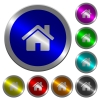 Home luminous coin-like round color buttons - Home icons on round luminous coin-like color steel buttons
