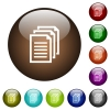 Multiple documents color glass buttons - Multiple documents white icons on round color glass buttons