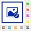 Resize image small flat framed icons - Resize image small flat color icons in square frames on white background