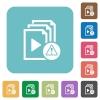 Playlist warning rounded square flat icons - Playlist warning white flat icons on color rounded square backgrounds
