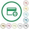 Safe credit card transaction flat icons with outlines - Safe credit card transaction flat color icons in round outlines on white background