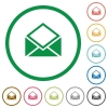 Open mail flat icons with outlines - Open mail flat color icons in round outlines on white background