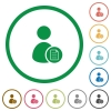 User account properties flat icons with outlines - User account properties flat color icons in round outlines on white background