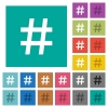 Hash tag square flat multi colored icons - Hash tag multi colored flat icons on plain square backgrounds. Included white and darker icon variations for hover or active effects.