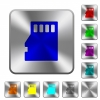 Micro SD memory card rounded square steel buttons - Micro SD memory card engraved icons on rounded square glossy steel buttons