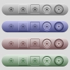 Soccer ball icons on horizontal menu bars - Soccer ball icons on rounded horizontal menu bars in different colors and button styles