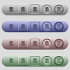 Database main switch icons on horizontal menu bars - Database main switch icons on rounded horizontal menu bars in different colors and button styles