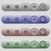 Pound sticker icons on horizontal menu bars - Pound sticker icons on rounded horizontal menu bars in different colors and button styles