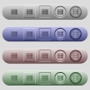 Rack servers icons on horizontal menu bars - Rack servers icons on rounded horizontal menu bars in different colors and button styles