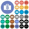 Bitcoin bag round flat multi colored icons - Bitcoin bag multi colored flat icons on round backgrounds. Included white, light and dark icon variations for hover and active status effects, and bonus shades on black backgounds.