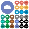 Cloud round flat multi colored icons - Cloud multi colored flat icons on round backgrounds. Included white, light and dark icon variations for hover and active status effects, and bonus shades on black backgounds.