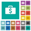 Dollar bag square flat multi colored icons - Dollar bag multi colored flat icons on plain square backgrounds. Included white and darker icon variations for hover or active effects.