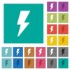 Flash square flat multi colored icons - Flash multi colored flat icons on plain square backgrounds. Included white and darker icon variations for hover or active effects.