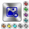 Default image engraved icons on rounded square glossy steel buttons - Default image rounded square steel buttons