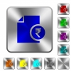 Indian Rupee financial report rounded square steel buttons - Indian Rupee financial report engraved icons on rounded square glossy steel buttons