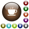 Cup of coffee color glass buttons - Cup of coffee white icons on round color glass buttons