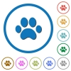 Paw prints icons with shadows and outlines - Paw prints flat color vector icons with shadows in round outlines on white background