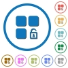 Unlock component icons with shadows and outlines - Unlock component flat color vector icons with shadows in round outlines on white background