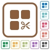 Cut component simple icons - Cut component simple icons in color rounded square frames on white background