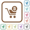 Checkout with Bitcoin cart simple icons - Checkout with Bitcoin cart simple icons in color rounded square frames on white background