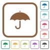 Umbrella simple icons - Umbrella simple icons in color rounded square frames on white background