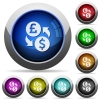 Pound Dollar money exchange round glossy buttons - Pound Dollar money exchange icons in round glossy buttons with steel frames