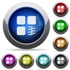 Zip component round glossy buttons - Zip component icons in round glossy buttons with steel frames