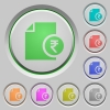 Indian Rupee financial report color icons on sunk push buttons - Indian Rupee financial report push buttons