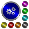 Gears luminous coin-like round color buttons - Gears icons on round luminous coin-like color steel buttons