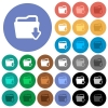 Download folder round flat multi colored icons - Download folder multi colored flat icons on round backgrounds. Included white, light and dark icon variations for hover and active status effects, and bonus shades on black backgounds.