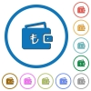 Turkish Lira wallet icons with shadows and outlines - Turkish Lira wallet flat color vector icons with shadows in round outlines on white background