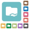 Shared folder rounded square flat icons - Shared folder white flat icons on color rounded square backgrounds