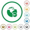Secure internet surfing flat icons with outlines - Secure internet surfing flat color icons in round outlines on white background