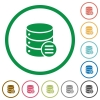 Database options flat icons with outlines - Database options flat color icons in round outlines on white background