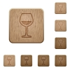 Glass of wine wooden buttons - Glass of wine on rounded square carved wooden button styles