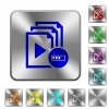 Processing playlist operation rounded square steel buttons - Processing playlist operation engraved icons on rounded square glossy steel buttons