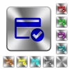 Credit card verified engraved icons on rounded square glossy steel buttons