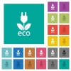 Eco energy multi colored flat icons on plain square backgrounds. Included white and darker icon variations for hover or active effects. - Eco energy square flat multi colored icons