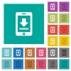 Mobile download square flat multi colored icons - Mobile download multi colored flat icons on plain square backgrounds. Included white and darker icon variations for hover or active effects.