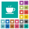 Cup of coffee square flat multi colored icons - Cup of coffee multi colored flat icons on plain square backgrounds. Included white and darker icon variations for hover or active effects.