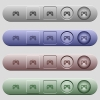 Game controller icons on horizontal menu bars - Game controller icons on rounded horizontal menu bars in different colors and button styles