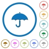 Umbrella icons with shadows and outlines - Umbrella flat color vector icons with shadows in round outlines on white background