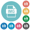 IMG file format flat round icons - IMG file format flat white icons on round color backgrounds