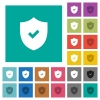 Active security square flat multi colored icons - Active security multi colored flat icons on plain square backgrounds. Included white and darker icon variations for hover or active effects.