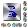 Unlock document rounded square steel buttons - Unlock document engraved icons on rounded square glossy steel buttons