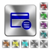 Credit card options rounded square steel buttons - Credit card options engraved icons on rounded square glossy steel buttons