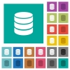Single database square flat multi colored icons - Single database multi colored flat icons on plain square backgrounds. Included white and darker icon variations for hover or active effects.